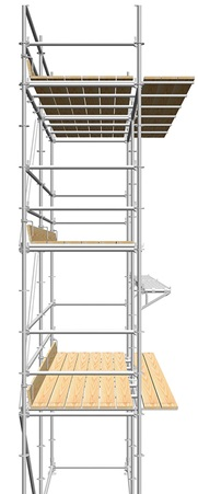 Layher Dutch masonry scaffolding with extended support ledgers and wooden planks