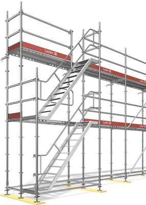 Layher Allround façade scaffold with staircase